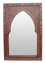 Moroccan Mirror Arched Zouak Wood Handmade Large 90cm x 60cm (ZM32)